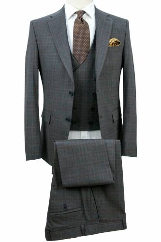 Dark Grey Fabric Brown Plaid Vested Suit