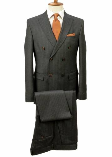 Orange Striped Grey Double Breasted Suit