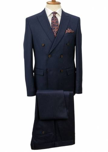 Orange Striped Navy Blue Double Breasted Suit