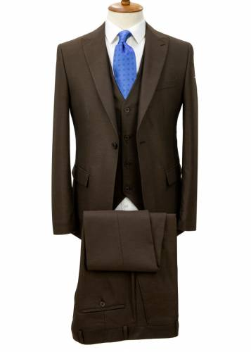 Birdseye Patterned Brown Vested Suit
