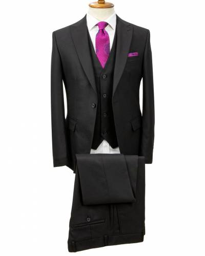 Birdseye Patterned Black Vested Suit