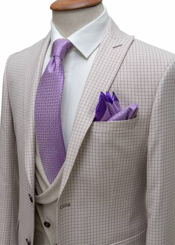 Magenta Plaid Cream Fabric Vested Suit