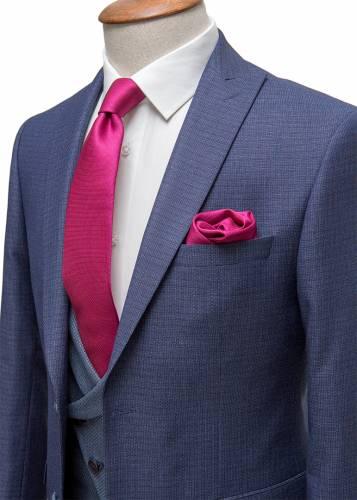 Micro Red Plaid Navy & Grey Fabric Vested Suit