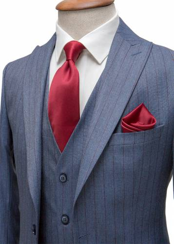 Claret Red Striped Navy Blue Vested Suit