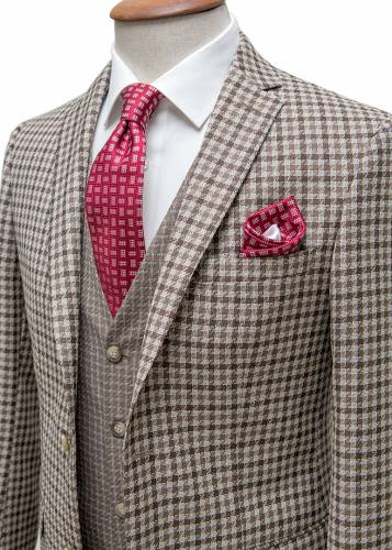 %100 Wool Brown Plaid Vested Suit
